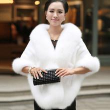 Luxe Elegante Womens Faux Nertsen Kasjmier Winter Warme Bontjas Shawl Cape Fashion Solid Dames Faux Fur Pashmina Poncho(China)