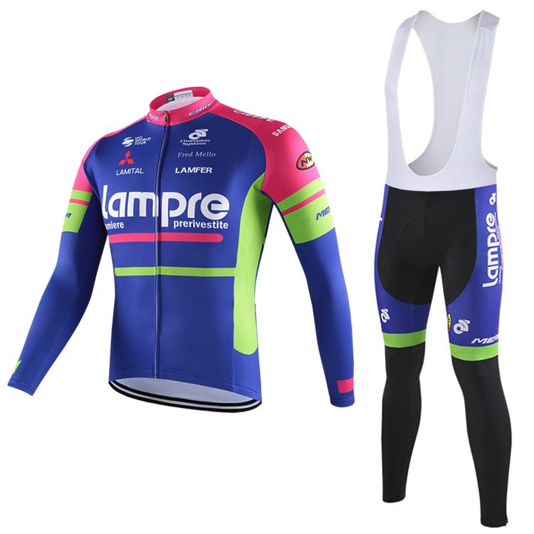 Barcelona Jersey 2017 Team Lampre Merida Cycling Jersey Cycling Clothing Long Sleeve Ropa Ciclismo And Bicicleta Silica Gel Pad(China (Mainland))