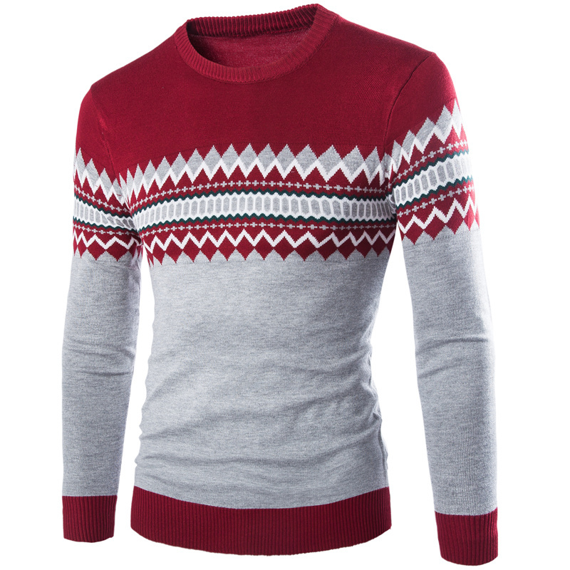 Free ship 2015 winter new casual male argyle pattern knitted sweater pullover o-neck fashion keep warm men's clothes M-XXL(China (Mainland))