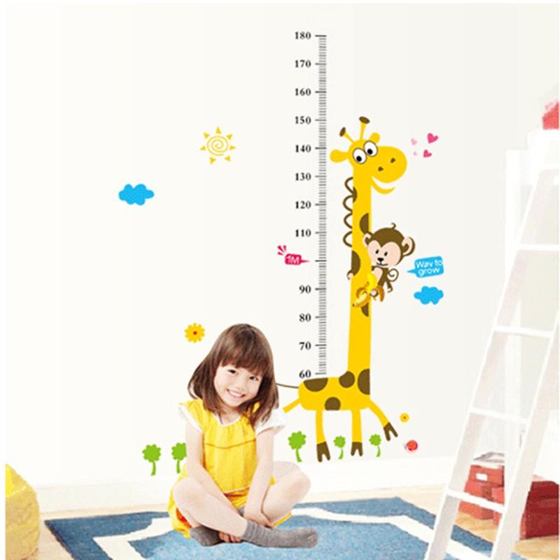 Cartoon Giraffe Height Ruler Wall Sticker Baby Room Children Bedroom Wall Stickers Home Decor Wall Art Sticker Wallpaper Poster