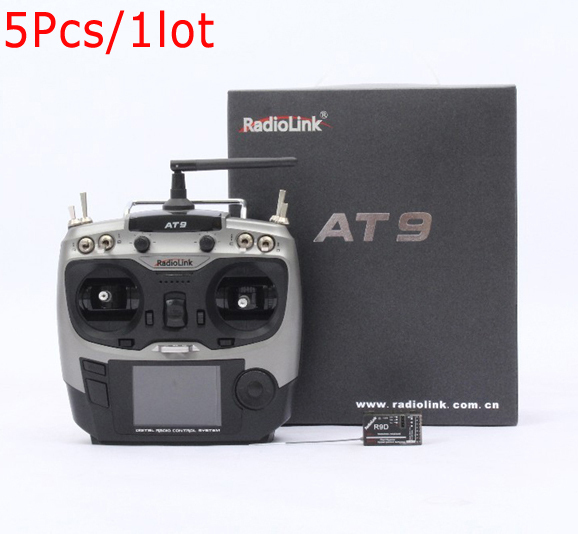 Wholesale 5Pcs Radiolink AT9 2.4G 9 Channel Transmitter With R9DS Receiver TX &RX for RC Toy Helicopter RC hobby parts(China (Mainland))