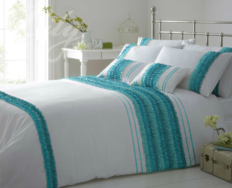 Solid Color Bed Sheet New Fashion Blue Applique Embroidery