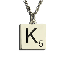 Personalized Scrabble Necklace Sterling Silver Scrabble Letter  Alphabet Necklace Letter Charms Love the Game of Scrabble(China (Mainland))