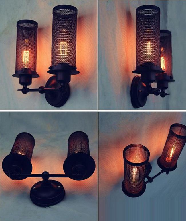 Здесь можно купить  Eurpean  Nostalgic Style Metal Mesh Two-burner Ajustable Wall Lamp Cafe Light Corridor Light Bedside Light Free Shipping  Свет и освещение