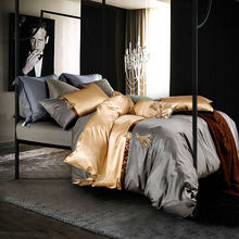 fashion luxury silk bamboo fiber bedding sets gray light golden solid linens Queen/King Size sheets sets coverlet(China (Mainland))