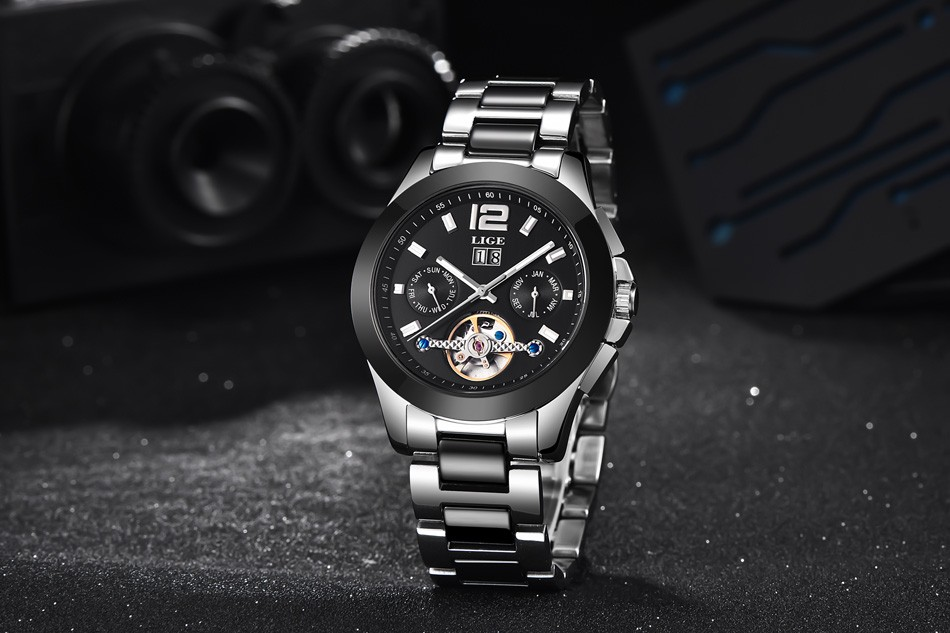 2016 Men's LIGE Brand Luxury Ceramic Automatic Watch men Fashion Casual Dive 50M Date Clcok Business Wrist watches reloj hombre