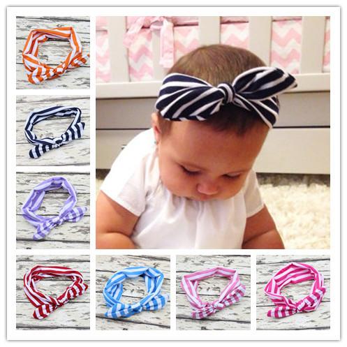 2015 Fashion Baby Top Knot Headbands Baby Headwrap Stripled Knot Baby Head Wrap Tie Knot Headwrap Girls Headwear 2pcs(China (Mainland))