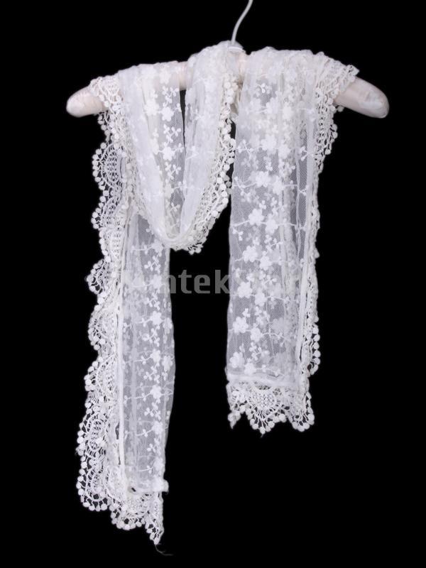 Free Shipping Women Gauze Embroidery Lace Scarf 3310 White(China (Mainland))