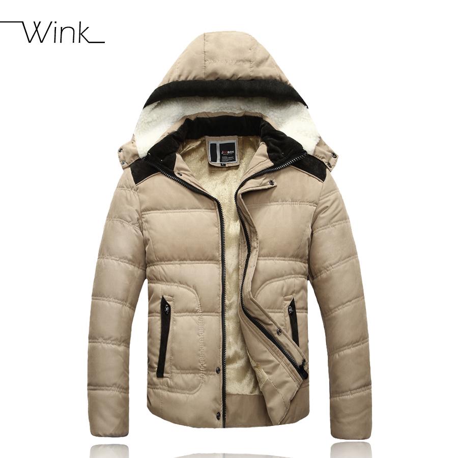 Thick Warm Men Winter Coats Fashion Jackets Hooded Cotton Down Coat Men Casual Parkas Outdoor Wear High Quality Black Khaki E435