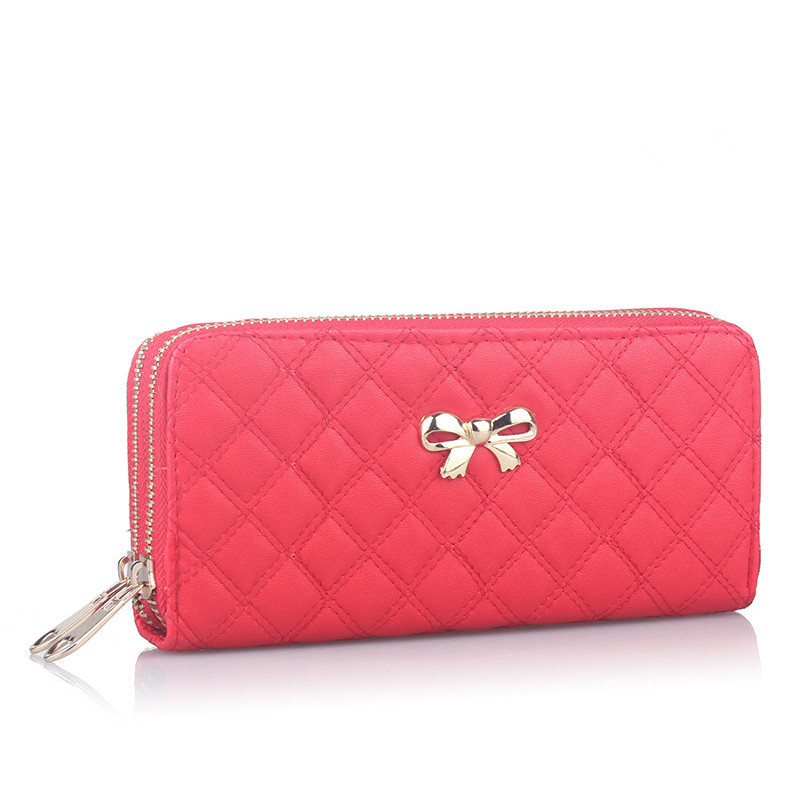2016 Fashion Women Bowknot Plaid Long Double Zip Clutch Leather Wallet Purse Coin Card Bag High Quality(China (Mainland))