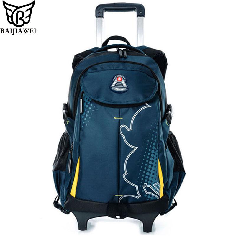 Guaranteed 100% Wear-resisting Wheels Trolley School Bag Portable Nylon Backpack For Children Detachable Children's Backpacks(China (Mainland))