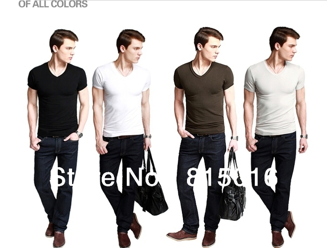 Free shipping 2013 New Fashion V-NECK Pure cotton men's Short sleeve T-shirt ,Mens' casual T-shirt white,Gray,Black,Coffe color