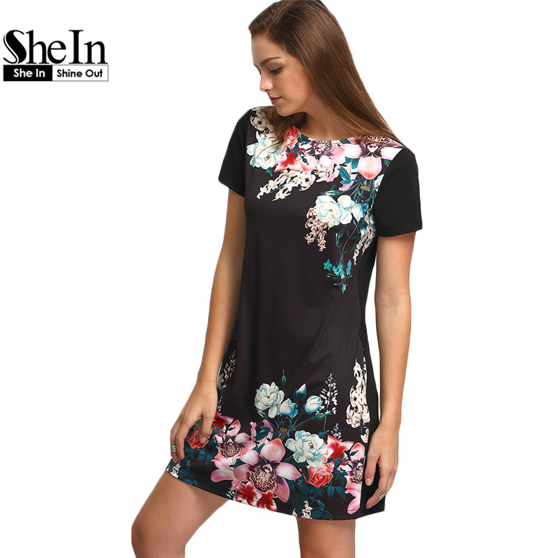 SheIn Dresses For Women Summer New Casual Black Round Neck Short Sleeve Floral Print Vintage Straight Short Dress(China (Mainland))