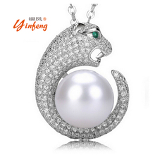 [Yinfeng] Luxury fashion Leopard pendant necklace jewelry 11-12mm big natural freshwater pearl Pendant Necklace(China (Mainland))