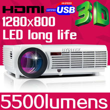 Big Discount BT96 5500lumens Video HDMI USB TV 1280×800 Full HD 1080P Home Theater 3D LED projector Projetor proyector beamer