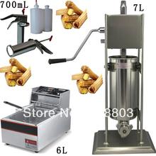 Buy 3 1 7L Spainish Churro Machine + 6L Deep Fryer + 700ml Churros Filling Machine for $335.00 in AliExpress store