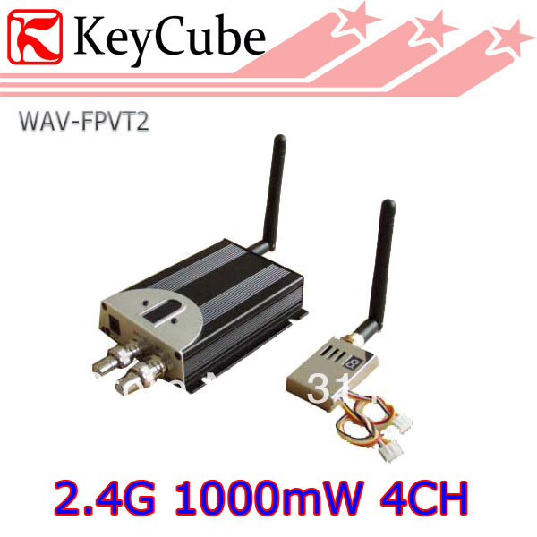 FPV 2.4G 1000mW 4CH Professional Wireless AV Sender Video Audio Transmitter Receiver 2.4Ghz 1W Free Shipping(China (Mainland))