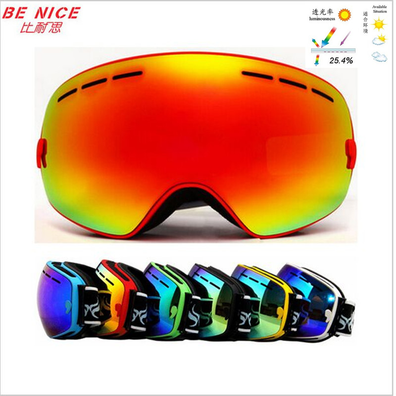 Genuine brand professional Skiing Eyewear double lens anti-fog big spherical ski glasses anti fog snowboard goggles SNOW-3100