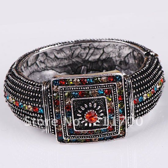 Silver Plate Crystal Hinged Jewelry Bracelet Bangle 1pc