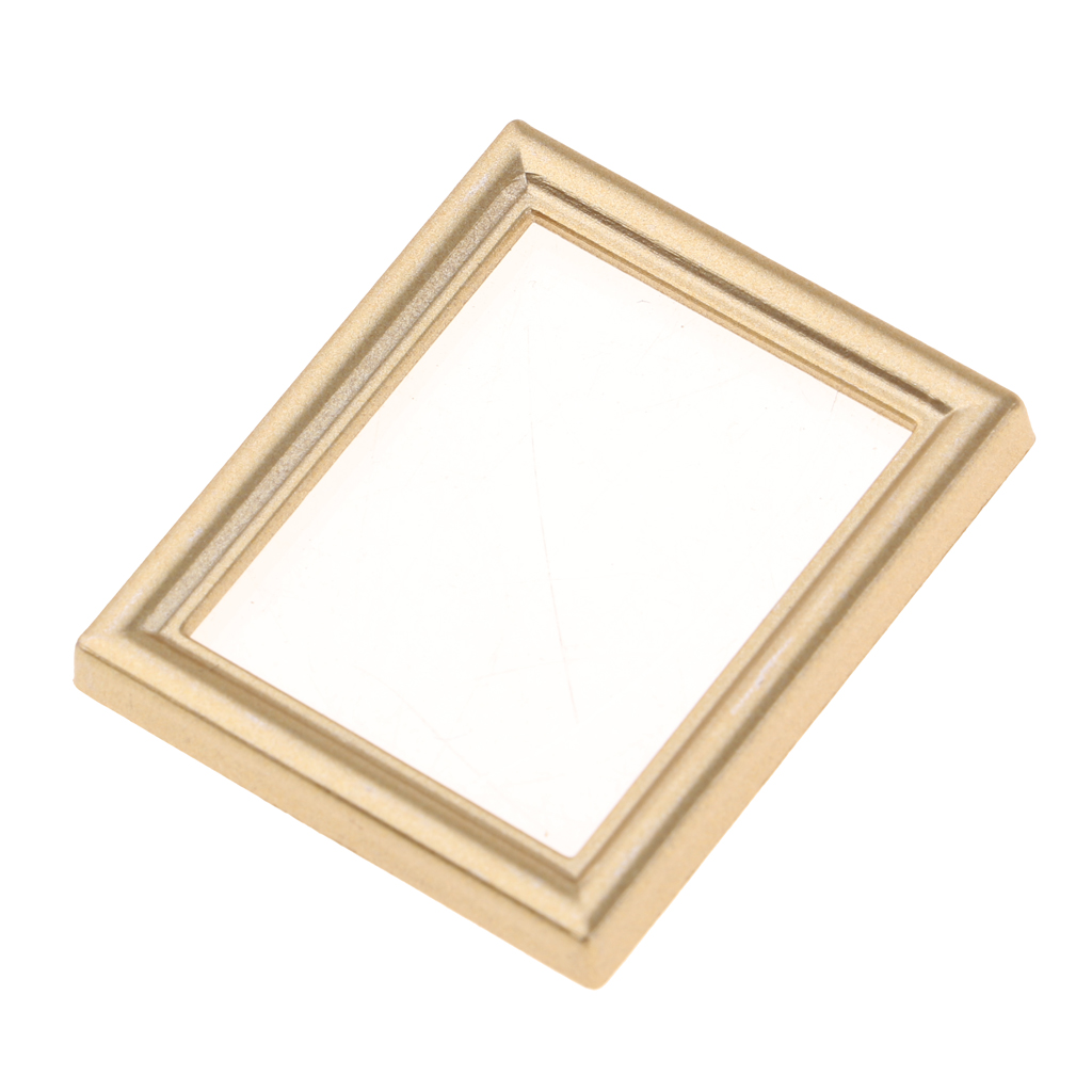 Vintage Mini Dollhouse Decor Furniture Kit Pictures Photo Frame for 1/12 Dolls House Miniature Room Accessories Golden