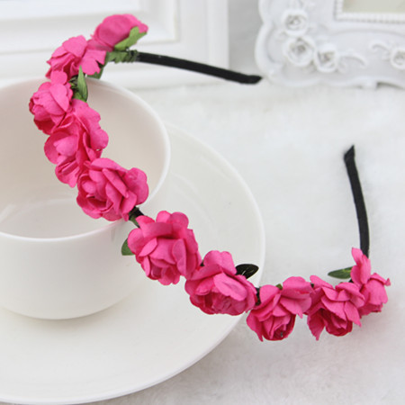High Quality Handmade Bride Floral Crown Rose Headband Flower Hair Garland Festival Wedding Hair Accessories Hairbands(China (Mainland))