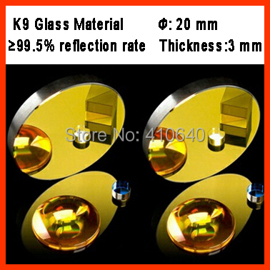 Diameter 20 mm K9 CO2 laser reflection mirror glassmaterail with golden coating for laser engraver cutting Machine(China (Mainland))