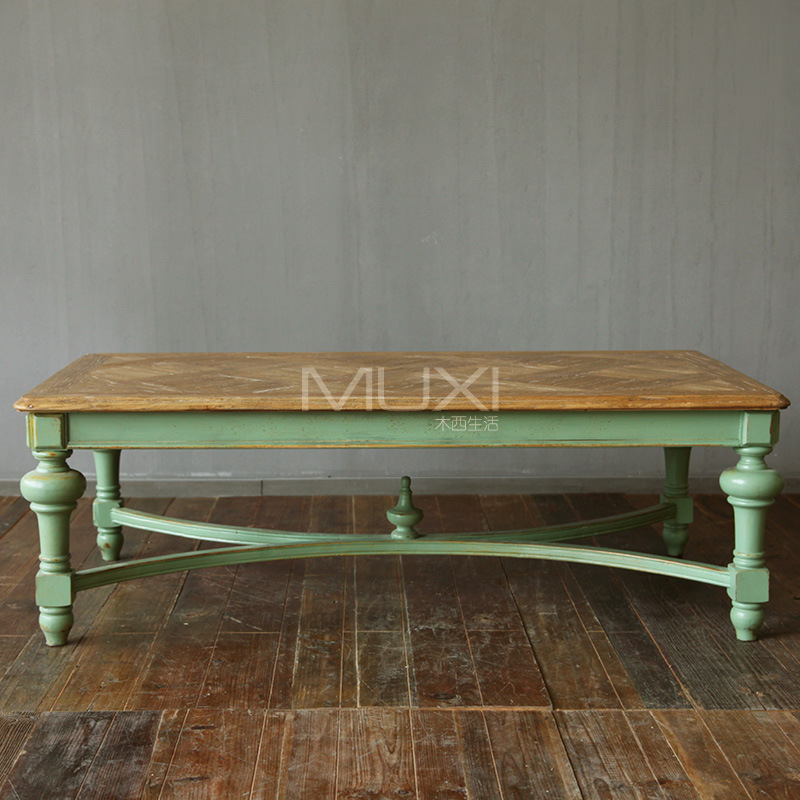 Old Vintage French Country Style Coffee Table Elm Wood Coffee Table