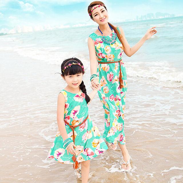 Семья взгляд 2015 новый соответствия мать и дочь платья богемское флористическое ...
