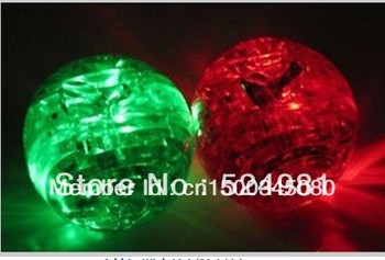 Hot selling! 3D Shining Puzzle Crystal Decoration Red Green Apple Puzzle IQ Gadget Hobby Toy Gift 3D,Free shipping,1 pcs