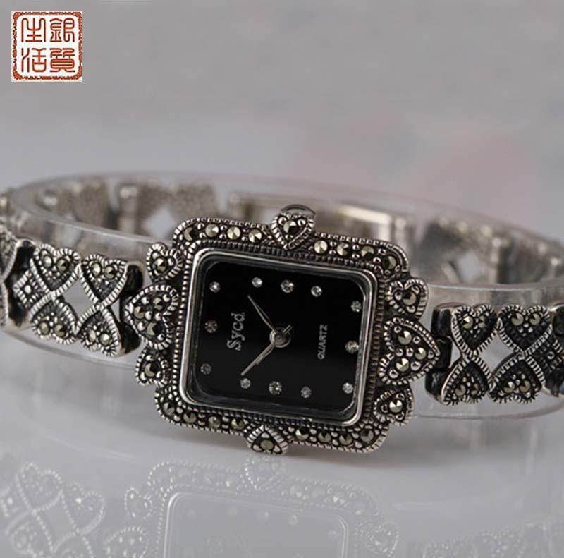 Здесь можно купить  Square pure silver watches inlaying mark race vintage 925 thai silver watch ladies watch bracelet silver table female  Часы