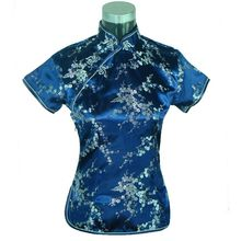 Special Offer Navy Blue Womens Blouse Satin Shirt Top Mujeres Camisa Chinese Traditional Clothing Flower Size S M L XL XXL A0025(China (Mainland))
