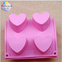 2016 1PCS New Food-grade Silicone Mould Heart shaped Cake Tools Bakeware Pudding Mold Handmade Soap Mold Kitchen Accessories
