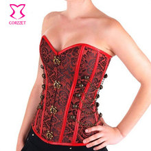 Steampunk Corset Steel Boned Overbust Corselet Floral Pattern Burlesque Bustier Waist Training Corsets Women Gothic Clothing