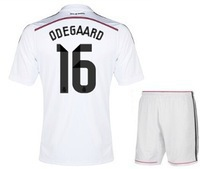Free shipping 2015 Real Madrid HOT ! New Player Home white #16 Magnar Odegaard Soccer Jersey shirt,short sets Football uniform(China (Mainland))