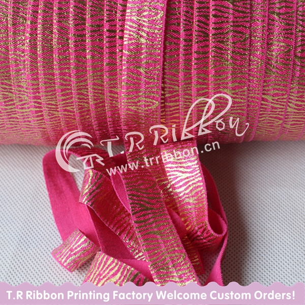 "#175 shocking pink, Top quality 5/8"" gold foil zebra FOE, Fold over elastic ribbon, 50 yards/lot Free shipping(China (Mainland))"