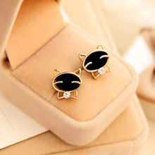 Best seller Free Shipping Diomedes 1Pair Black Smile Cat High-Grade Fine Stud Earrings Apr7 N(China (Mainland))