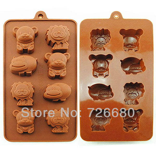 Free Shipping! Christmas Gifts Food Grade Lion Hippo Bear Shape Silicone Chocolate Mold /Cake Mold/Cookie Mould 301-0103(China (Mainland))