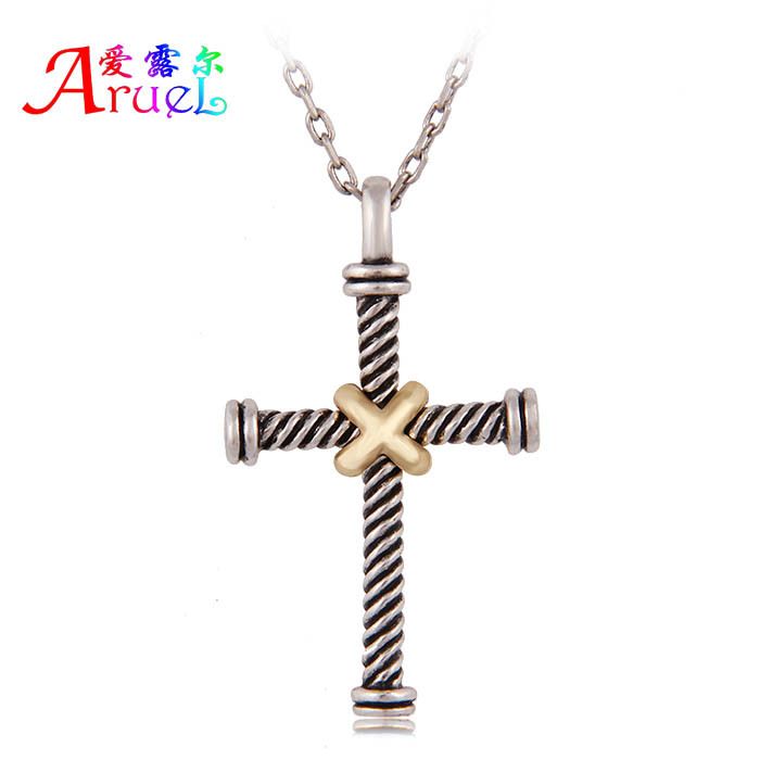 aliexpress collar collana vintage jewelry religious holy antique silver chain two-tone ancient cross pendant necklace women men(China (Mainland))