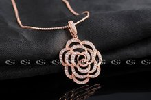 G S Brand Christmas Gift Fashion Jewelry Rose Gold Plated Crystal Rose Necklace Long Necklace For