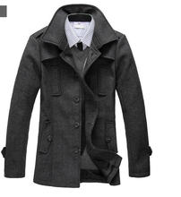 Plus Size XXXL 2014 New Winter Men Wool Coat Long Brand Slim Single-Breasted Lapel Casual Woolen Windbreaker Free Shipping Q872(China (Mainland))