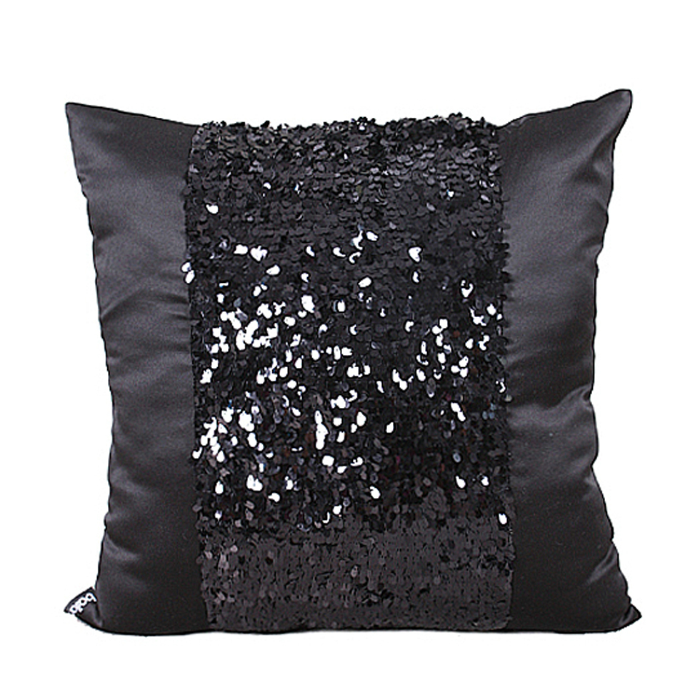 Fashion Modern simple Emulate Silk Sequin Black Shining sofa Decorative Throw Pillow Cases ...