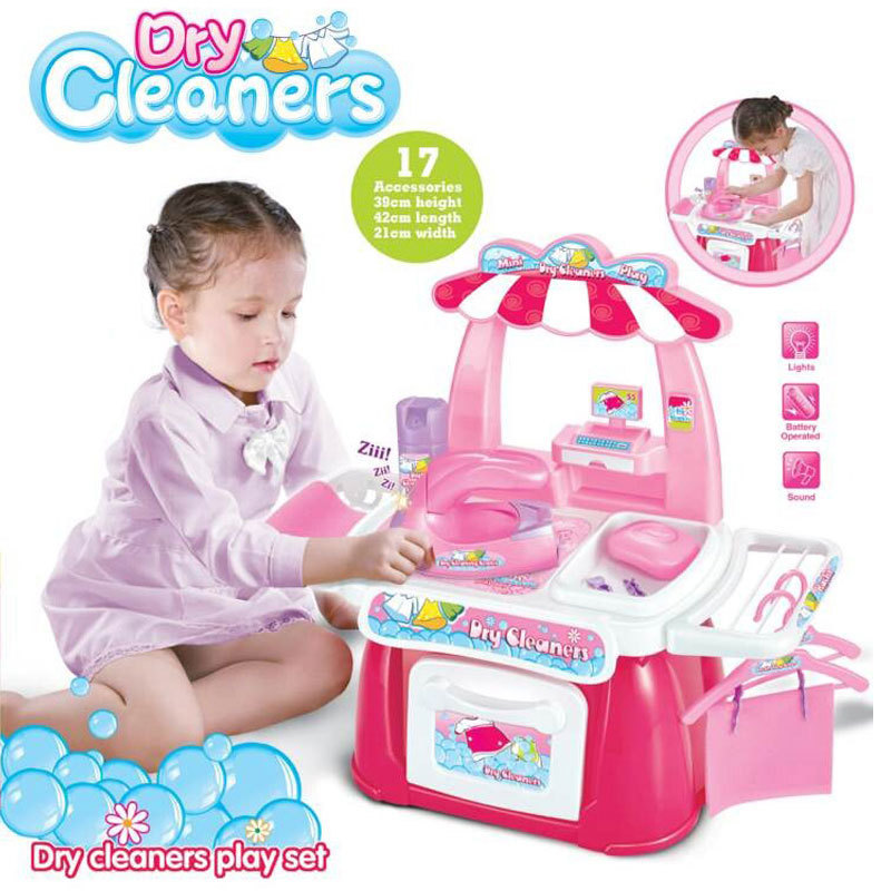 New Arrival Children Play Happy Toy Simulation Dry Cleaners With Full Set Of Table Filial Girl Gift Kitchen Set For Kids(China (Mainland))