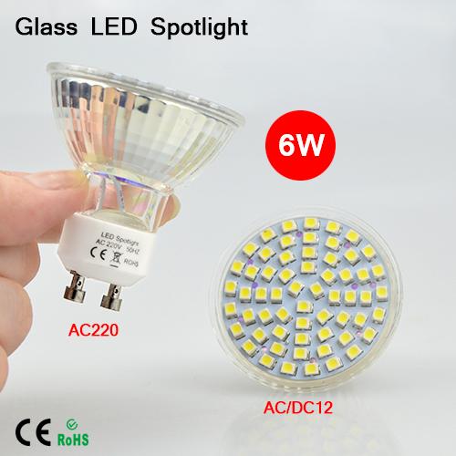 1PCS GU10 220V / MR16 AC12V Led Spotlight 3528SMD 60LEDs 6W pure white / Warm white Led Lamp Free shipping(China (Mainland))