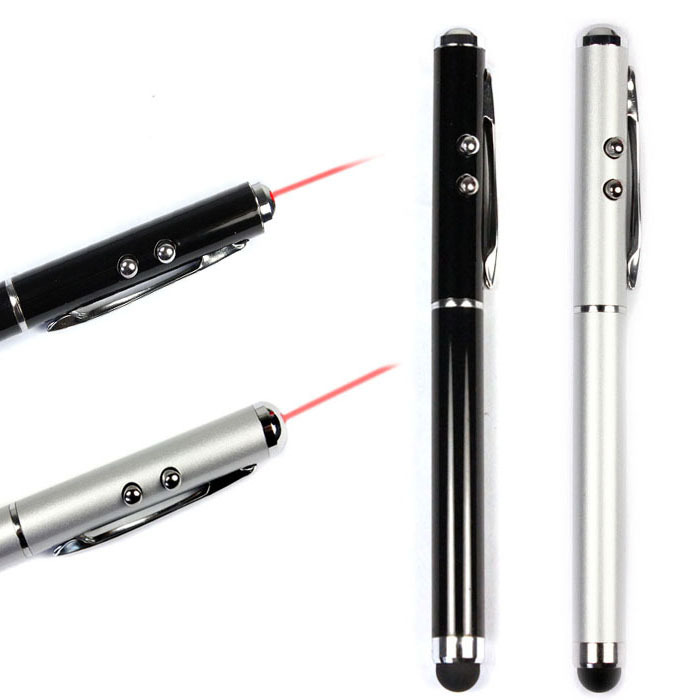 Kimisohand 2015 New Arrival Hot 2 PCS 2 Colors 3-in-1 Stylus Laser Pointer LED Light Pen For iPhone 4S 5 Samsung Tablet PC(China (Mainland))