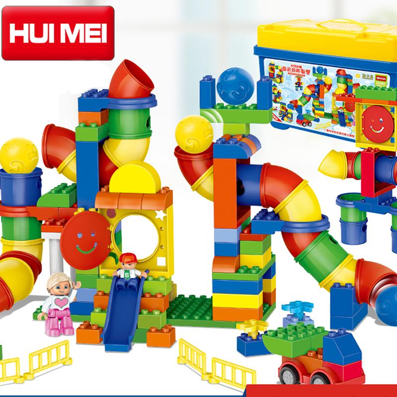 Kids Toys Building Blocks Assembled toy Compatible Minifigures magformers large particles Plastic block channel bricks
