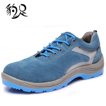 men blue cow leather breathable steel toe cap work safety shoes labor insurance protective footwear mesh summer low boots