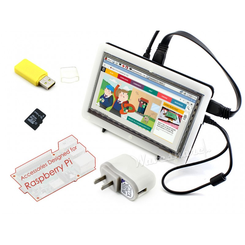 Raspberry Pi 7 inch Rev. 2.1 1024*600 HDMI IPS LCD Touch Screen+Bicolor Case + 8GB Micro SD card + Power Adapter=RPi Accessory F(China (Mainland))