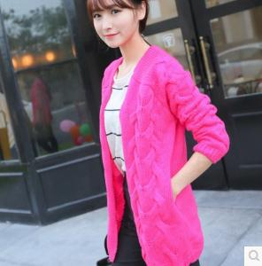 2014 new autumn and winter coat sweater female twist loose sweater cardigan restoring ancient ways in the long free shipping(China (Mainland))