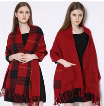 2016 Winter Womens Scarfs Fashionable Cashmere Dual Use Wool Shawls And Scarves Plaid Tassel Tartan Vintage Warm Soft Sjaals