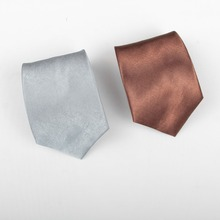 FREE SHIPPING Men Fashion casual style 10cm 100 polyester pure color silver brown stain silk feel